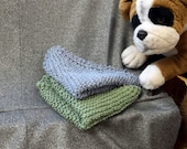 Knitted Cotton Dish Scrub Cloths, Mixed Set, Olive Green N Steel Blue Color