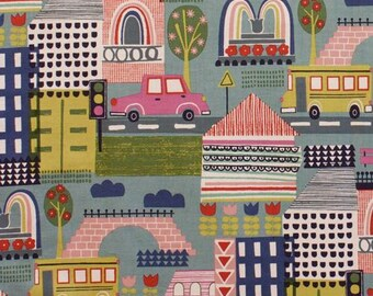 208483 blue Alexander Henry fabric colorful building