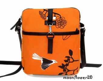 Birds Twittering on Branches Crossbody Bag With Genuine Black Leather Trim and Adjustable Leather Strap