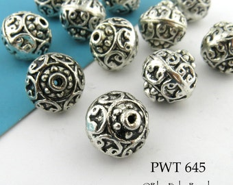 13mm Large Hollow Pewter Beads, Pompeii, Antique Silver, Bali stylr (PWT 645) 4 pcs BlueEchoBeads