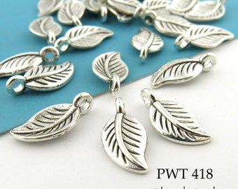 14mm Small Pewter Leaf Charm, Silver Tone (PWT 418) 20 pcs BlueEchoBeads