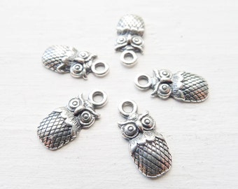 Owl Charm Sterling Silver Pendant for Bracelets or Necklaces Adorable Oval