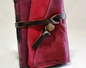 Small Pink Leather Journal with Recycled Paper