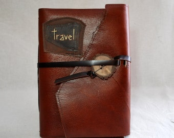 Large Travel Leather Journal or Sketchbook with Recycled Paper