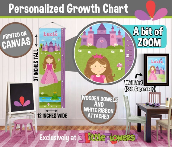 Princess Growth Chart Personalized Canvas Growth Chart Children