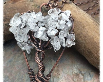 Tree of Life Heart Shaped Wire Wrapped Necklace, Gemstone,Crystal,Love, Nature,Wedding, Bride, Mother of Bride