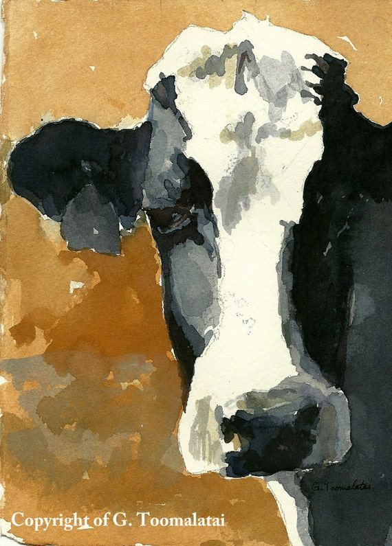 Cow print 11 x 14 paper size cow art cow print of by gwensart for 11x14 paper size