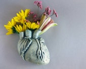 Human Heart Wall Vase- Minty green heart vase for hanging on wall, holds water