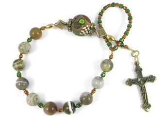 Ocean Jasper Catholic One Decade Rosary Chaplet Tenner Handmade Prayer Beads Everything Else Religious Under 30 USD