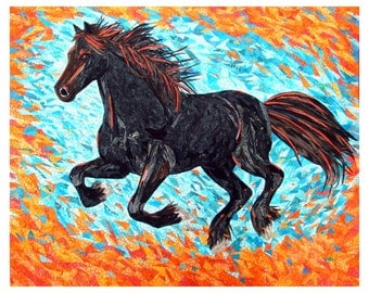 Fire and Ice  original horse art wall quilt by Cindy Watkins