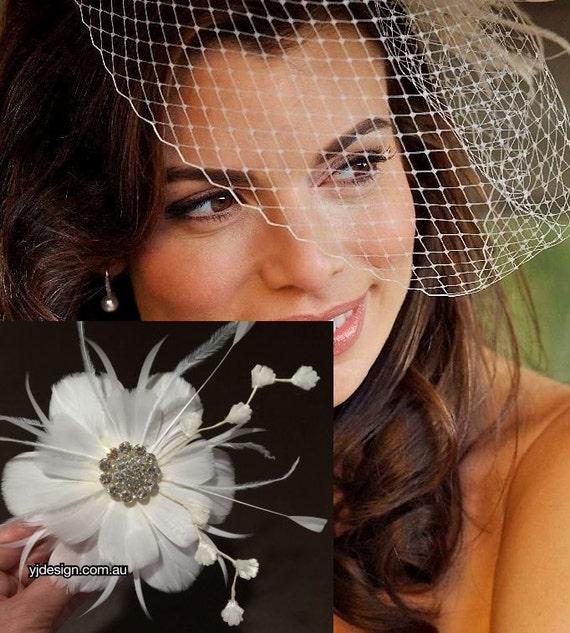 Bridal Veil Fascinator Set, Flower Hair Clip, Feather Fascinator, Bridal Headpieces, Flapper Wedding Veil, Birdcage Veil, NIRVANI VIVA