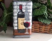 Wine Art, Painting On Brick, Wine Painting Gift, Handpainted Doorstop, Painted Pavers, Art for Wine Lovers, Collectible Wine Art Lovers