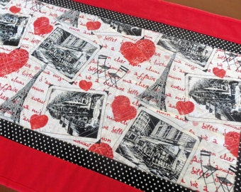 Quilted Paris Table Runner, Valentine's Day Table Runner,Handmade Paris Table runner,Eiffel Tower Table Runner,Red Black White Table Topper