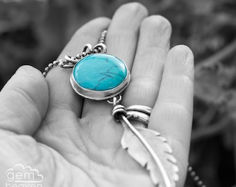 Turquoise and sterling silver Feather, rustic bohemian long necklace - Journey over Water -