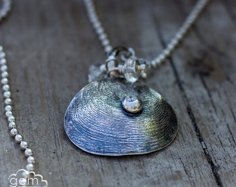 Sterling silver shell necklace with crystal quartz and cz  ~ Tidal -