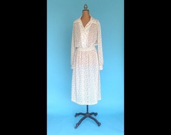 Vintage Semi Sheer 70s Sheer Dot Dress Union Label M