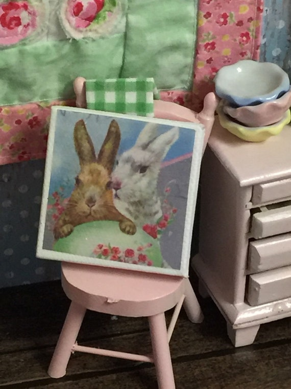 "Spring Vintage Bunny Pair Canvas Miniature Sign Picture 2"" x 2"""