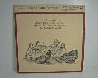 The Budapest Quartet Record, Beethoven No. 5 6, Columbia MS 6067 6 Eye Vintage Vinyl LP Classical