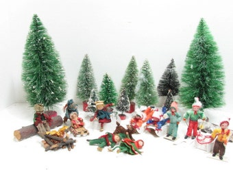 Christmas Diorama, Spun Cotton Mica Folk Art People Dog Skiing Sledding Skating Barrel Brush Bottle Trees, Vintage Holiday Decor