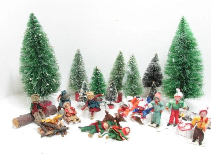 Vintage Christmas Diorama, Spun Cotton Mica Folk Art People Dog Skiing Sledding Skating Barrel Brush Bottle Trees, Vintage Holiday Decor