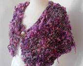 capelet wrap  Hand Spun Hand Knit  Art Yarn merino alpaca