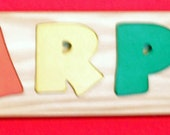 Name Puzzle  - Personalized - Raised Letters - Handmade Wooden Montessori  Puzzle  Toy