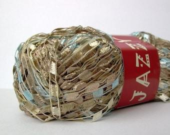 mini ladder ribbon yarn . beaches . feza jazzy yarn 150yd . champagne sand cream light blue railroad ribbon trellis novelty jewelry yarn