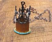 Rustic Fleur de Lis Crown Necklace tiara princess queen royal royalty turquoise diamond color Swarovski crystals country glam new orleans