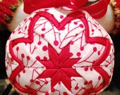 Handmade Christmas Quilted Ornament Red, White and Green