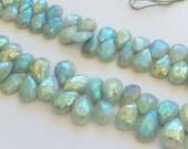 Amazonite AB Gemstone. Faceted Pear Briolette,  13-15mm. Semi Precious Gemstones. One Pair. (maZ)