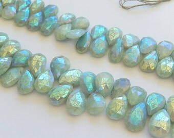 Amazonite AB Gemstone. Faceted Pear Briolette,  13-15mm. Semi Precious Gemstones. Pairs or NonMatching 1 to 5 Briolettes (maZ)