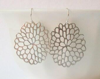 Summer Sale! Matte Silver Flower Dangle Earrings