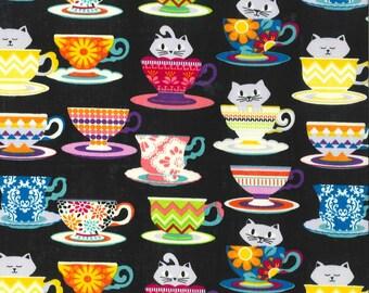 Super Cute Kitten Cats in Teacups Cotton Fabric 1 yd