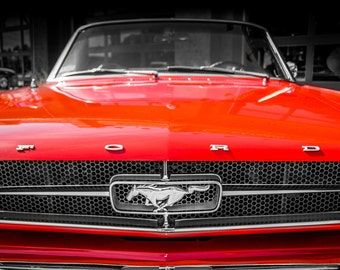 1965 Ford Mustang Convertible Car Photography, Automotive, Auto Dealer, Muscle, Sports Car, Mechanic, Boys Room, Garage, Dealership Art