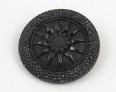antique Victorian black glass button faux threadwork design