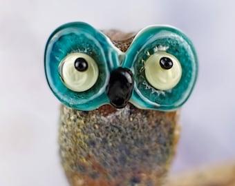 Rock....... lampwork owl bead...... sra