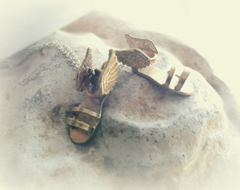 Winged Sandals Necklace - Talaria Jewelry - Hermes Winged Sandals - Hermes Jewelry - Marathon Necklace - Runner Charm -  Running Jewelry
