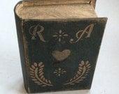 Paper Mache Primitive Black Colonial BOOK  Box