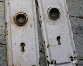 White Chippy Paint ESCUTCHEON Plates-Old Door Hardware