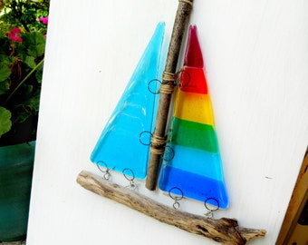 Fused Glass Sailboat Suncatcher