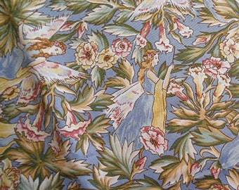 Girlie FLOWER FAIRY Cotton FABRIC, Pastel Blue Lavender Cream Green, Magic Wand, Beth Bruske Design, Pillowcase Curtain Girls Clothing 2 yds