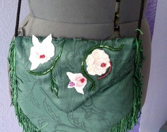 Green Brocade Victorian Style Bag, Steampunk, Edwardian, Renn Faire, Belly Dance