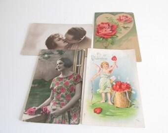 Antique Valentine's Postcards Set of Four Early 1900's Postcards Valentine's Day