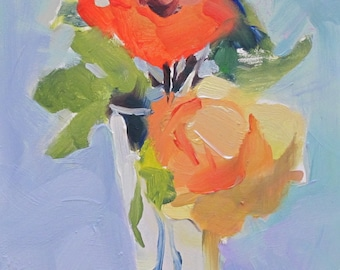 Yellow Roses....bouquet, roses, oil on board, expressive painting, oil painting, one of a kind, original fine art, Linda Hunt artist