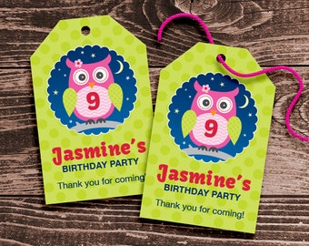 Personalized Night Owl Sleepover Party Favor Tags – DIY Printable – Hang Tags (Digital File)