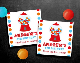 Personalized Gumball Party Favor Tags or Stickers – DIY Printable – Red (Digital File)