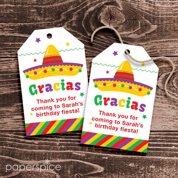Personalized Fiesta Party Favor Tags