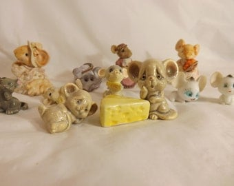 FREE SHIPPING vintage mice figurines mouse (Vault 14)