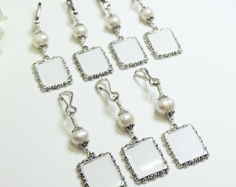 Wedding bouquet photo charms. 7x Pearl wedding charms. Bridal bouquet charms. Memory photo charms x7. Gift for her. Bridal shower gift.