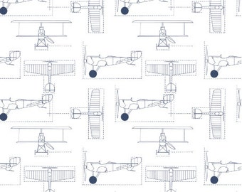 Airplane Blueprint Fabric - Delft Flight School Blueprint Fabric By Holli Zollinger - Airplane Fabric with Spoonflower - By the yard